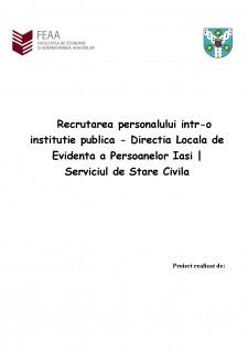 Recrutarea personalului într-o instituție publică - Direcția Locală de Evidență a Persoanelor Iași - Serviciul de Stare Civilă - Pagina 1