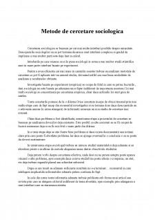 Metode de cercetare sociologică - Pagina 1