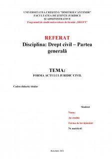 Forma actului juridic civil - Pagina 1