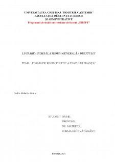 Forma de regim politic a statului Franța - Pagina 1