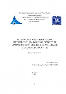 Integrarea web a sistemelor informatice și a bazelor de date în managementul resurselor materiale și umane din educație - Pagina 1
