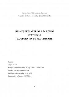 Bilanț de materiale în regim staționar la operația de rectificare - Pagina 1