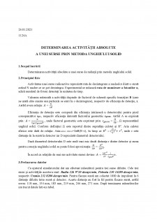 Determinarea activității absolute a unei surse prin metoda unghiului solid - Pagina 1