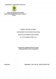 Management economico-financiar analiza economico-financiară SN NuclearElectrica SA - Pagina 1