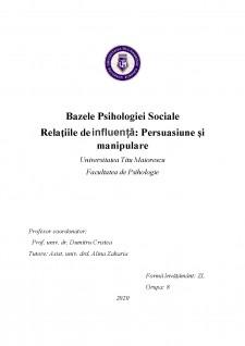 Relațiile de influență - Persuasiune și manipulare - Pagina 1