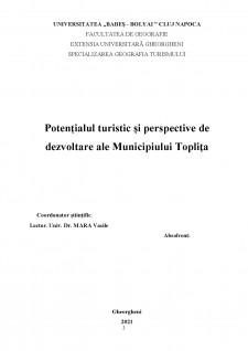 Potențialul turistic și perspective de dezvoltare ale Municipiului Toplița - Pagina 2