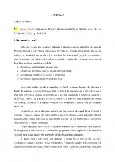 Recenzie articol Business History - Business history as history - Pagina 1