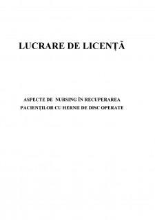 Aspecte de nursing în recuperarea pacienților cu hernii de disc operate - Pagina 1