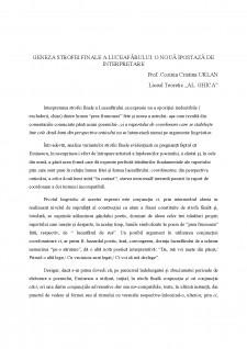 Geneza strofei finale a Luceafarului - o noua ipostaza de interpretare - Pagina 1