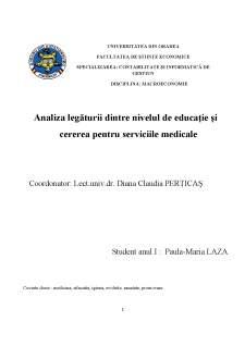 Analiza legăturii dintre nivelul de educație și cererea pentru serviciile medicale - Pagina 1