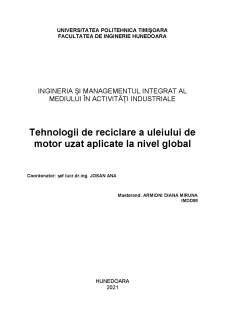 Tehnologii de reciclare a uleiului de motor uzat aplicate la nivel global - Pagina 1