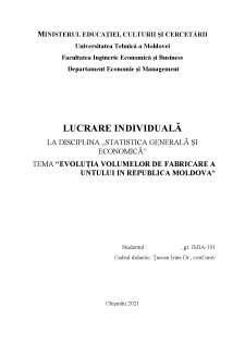Evoluția volumelor de fabricare a untului în Republica Moldova - Pagina 1