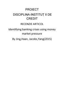 Recenzei articol - Identifying banking crises using money market pressure - Pagina 1