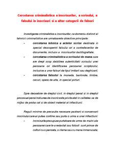 Cercetarea Criminalistica a Inscrisurilor, a Scrisului, a Falsului in inscrisuri si a altor categorii de falsuri - Pagina 1