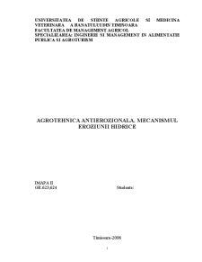 Agrotehnica Antierozionala - Mecanismul Eroziunii Hidrice - Pagina 1