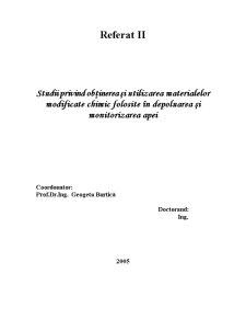 Studii privind Obținerea și Utilizarea Materialelor Modificate Chimic Folosite în Depoluarea și Monitorizarea Apei - Pagina 1