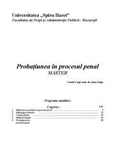Probațiunea în Procesul Penal - Pagina 1