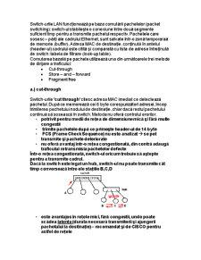 Tehnologii de Comutare în Lan-uri cu Switch-uri - Pagina 2
