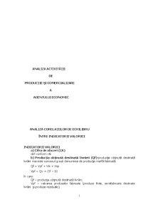 Analiza Activității de Producție și Comercializare a Agentului Economic - Pagina 1