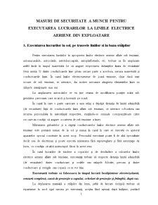Masuri de Securitate a Muncii pentru Executarea Lucrarilor la Liniile Electrice Aeriene din Exploatare - Pagina 1