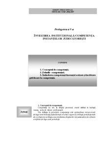 Prelegerea a V-a - Investirea Institutionala - Competenta Instantelor Judecatoresti - Pagina 1