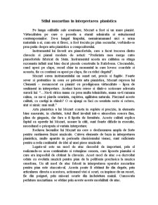 Stilul Mozartian in Interpretarea Pianistica - Pagina 1