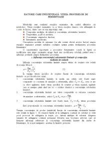 Factorii care Influențează Viteza Proceselor de Fermentație - Pagina 1