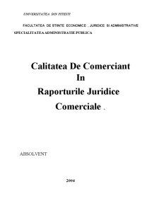 Calitatea de Comerciant în Raporturile Juridice Comerciale - Pagina 1