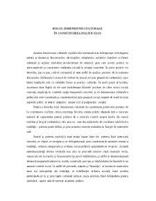 Rolul Dimensiunii Culturale în Constituirea Politicului - Pagina 1