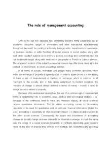 The Role of Management Accounting - Pagina 1