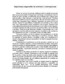 Importanța Asigurărilor în Societatea Contemporană - Pagina 1