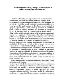 Calitatea Produselor și Protecția Consumatorilor în Relatie cu Protectia Consumatorului - Pagina 1