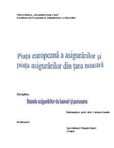 Piata Europeana a Asigurarilor si Piata Asigurarilor din Tara Noastra - Pagina 1