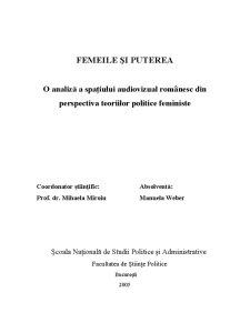 Femeile si Puterea - O Analiza a Spatiului Audiovizual Romanesc din Perspectiva Teoriilor Politice Feministe - Pagina 1
