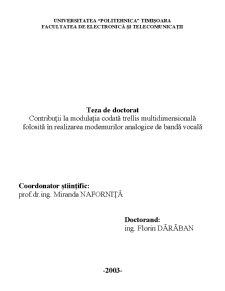 Contribuții la Modulația Codată Trellis Multidimensională Folosită în Realizarea Modemurilor Analogice de Bandă Vocală - Pagina 1