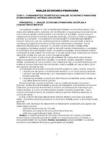 Analiza Economico-Financiara - Pagina 1