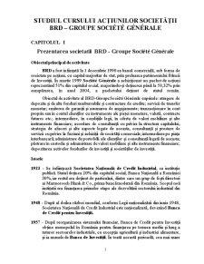 Studiul Cursului Actiunilor Societatii BRD – Groupe Societe Generale - Pagina 1