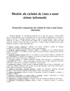 Modele ale Ciclului de Viata a unui Sistem Informatic - Pagina 1