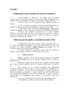 Curs 6 - Reglementari Interne privind Brevetarea in Strainatate DPI - Pagina 1