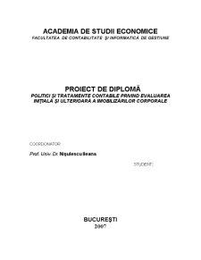 Politici și Tratamente Contabile privind Evaluarea Inițială și Ulterioară a Imobilizărilor Corporale - Pagina 1