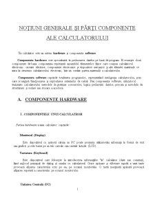 Notiuni Generale si Parti Componente ale Calculatorului Hardware & Software - Pagina 1