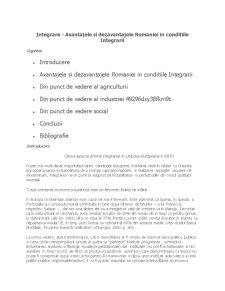 Avantajele si Dejavantajele Integrarii Romaniei in UE - Pagina 1