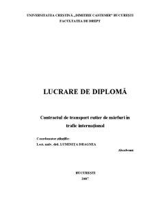 Contractul de Transport Rutier de Mărfuri în Trafic Internațional - Pagina 1