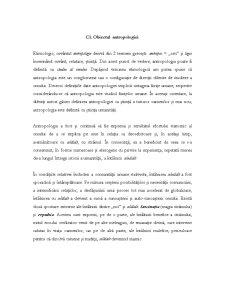 Obiectul Antropologiei - Pagina 1