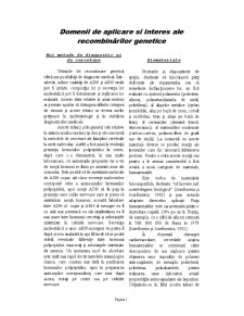 Domenii de Aplicare și Interes ale Recombinărilor Genetice - Pagina 1