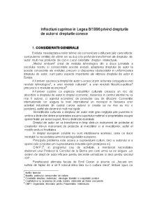 Infractiuni Cuprinse in Legea 8-1996 Privind Drepturile de Autor si Drepturile Conexe - Pagina 1