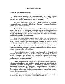 Psihoterapii Cognitive - Tehnici de Consiliere Behavioriste - Pagina 1