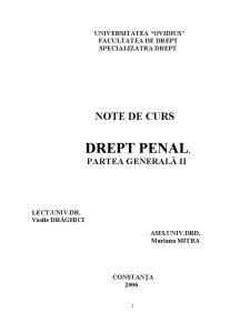 Drept Penal Partea Generală II - Pagina 1
