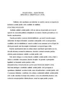 Nulitatea - Sanctiune Specifica Dreptului Civil - Pagina 1
