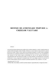 Sisteme de Avertizare a Crizelor Valutare - Pagina 1